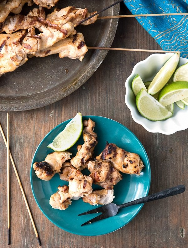 Grilled Chicken Thigh Satay with Peanut Dipping Sauce - BoulderLocavore.com