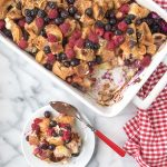 Overnight Red, White and Blue Berry French Toast Breakfast Casserole