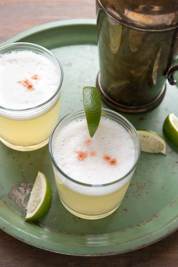 Close-up of Peruvian Pisco Sour cocktail