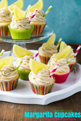 Shortcut Margarita Cupcakes with Cream Cheese Lime Frosting