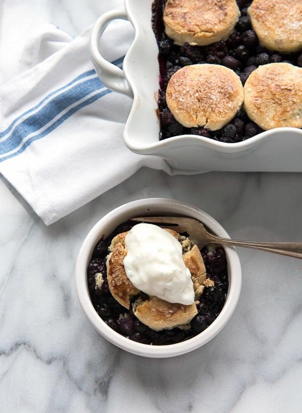 Peach Berry Cobbler With Sour Cream Biscuits Recipe — Dishmaps