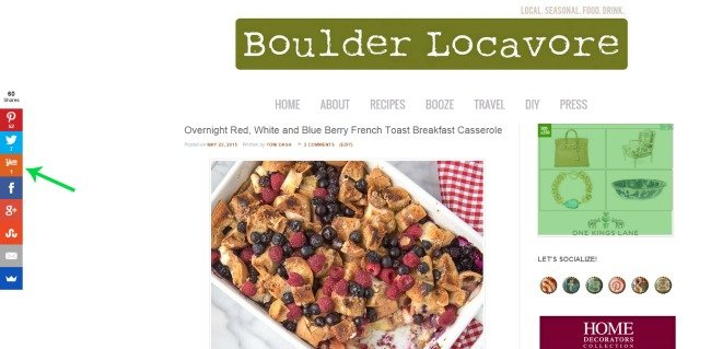Yummly Share button on Boulder Locavore