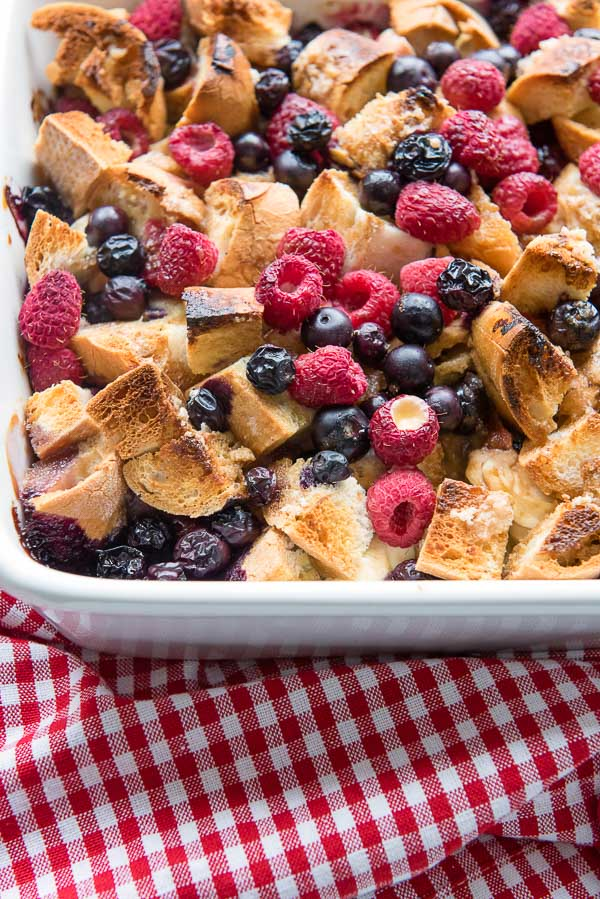 Overnight French Toast Casserole with a red and white checked cloth