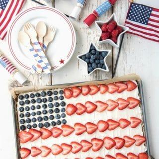 American Flag Fruit Cookie Dessert Pizza