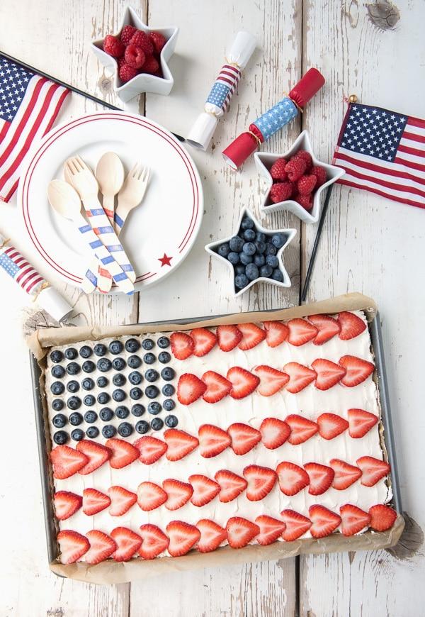 American Flag Fruit Cookie Dessert Pizza - BoulderLocavore.com