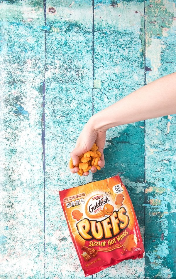 Child's Hand picking up gluten-free Goldfish Puffs 4 - BoulderLocavore.com