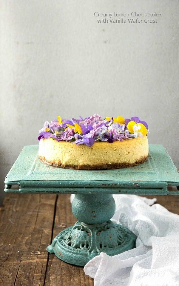 Creamy Lemon Cheesecake with Vanilla Wafer Crust and Edible Flowers - BoulderLocavore.com