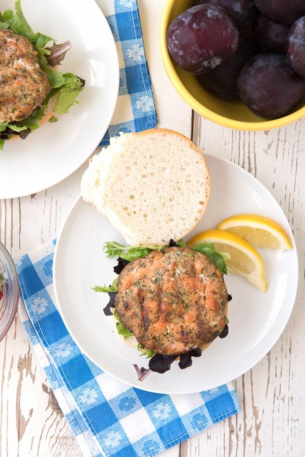 Hay Smoked Salmon Burgers on bun