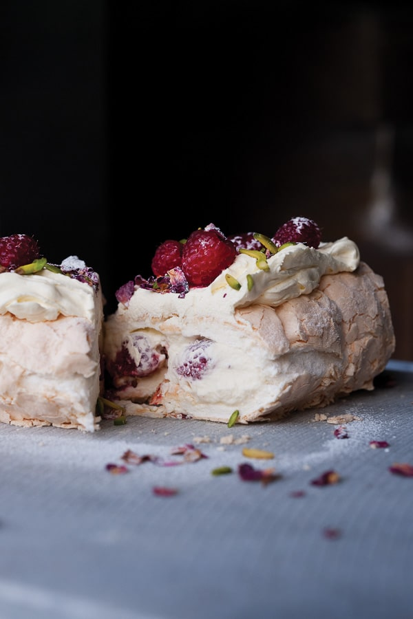 Meringue Roulade with Rose Petals and Fresh Raspberries and 'Plenty More' {cookbook}