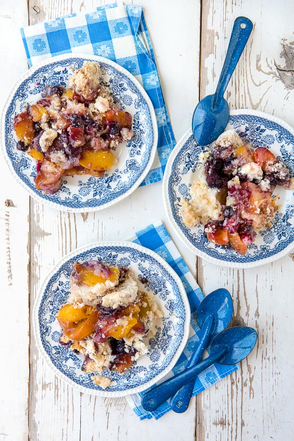 Peach Blueberry Cobbler on three plates