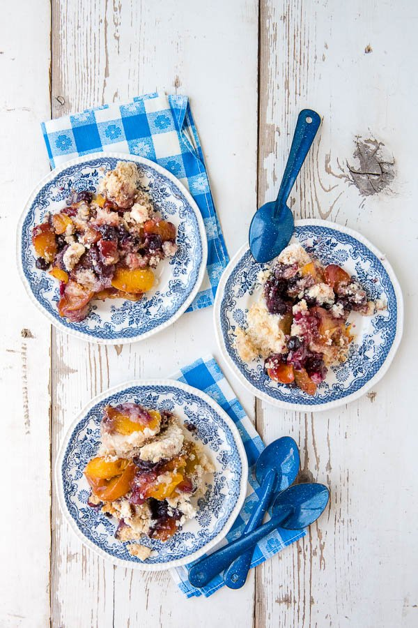 Peach Blueberry Cobbler on vintage blue and white plates
