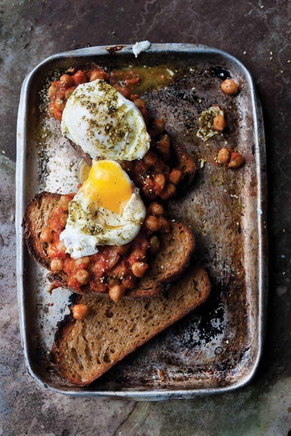 Slow Cooked Chickpeas on Toast with Poached Egg from Plenty More (Ten Speed Press) - BoulderLocavore.com_