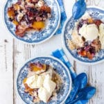 Slow Cooker Peach Blueberry Cobbler title image