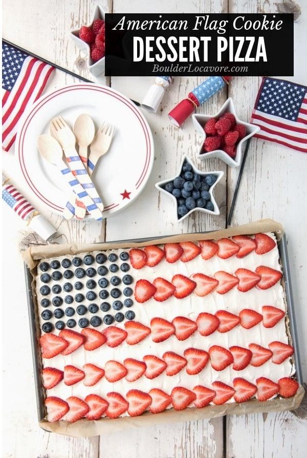 American Flag Dessert Pizza title image