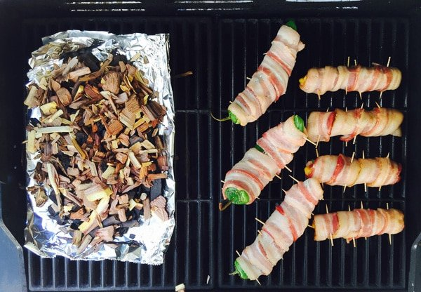Bacon wrapped Hot Dogs and Peppers grill set up - BoulderLocavore.com_