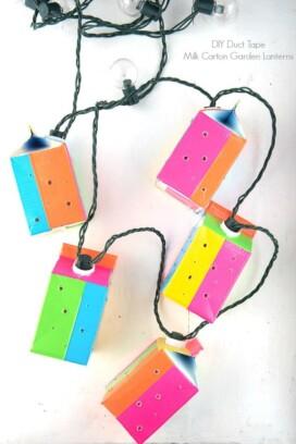 Duct Tape Milk Carton Garden Lanterns