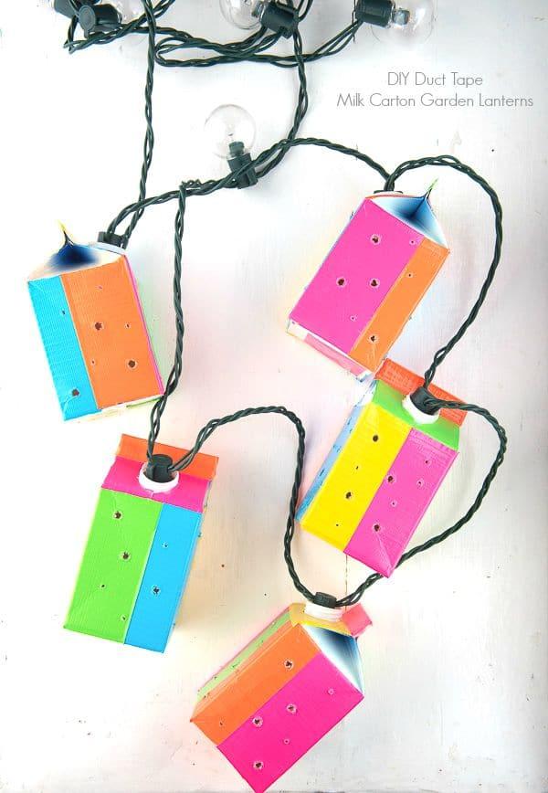DIY Duct Tape Milk Carton Garden Lanterns