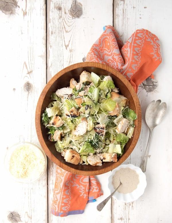 Grilled Chicken Caesar Salad with Light Creamy Dressing - BoulderLocavore.com