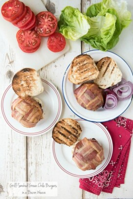 Grill-Smoked Green Chile Burgers with Bacon Weave