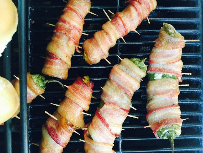 Mesquite-smoked Jalapeno Cheese Bacon-Wrapped Hot Dogs and Peppers - BoulderLocavore.com