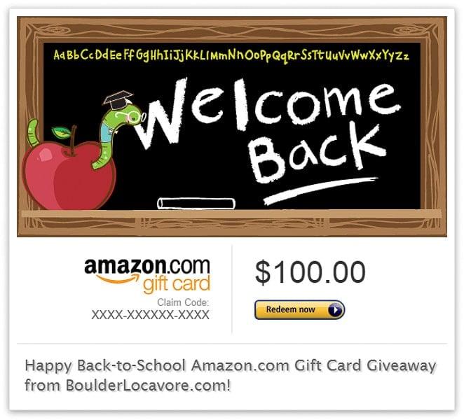 Back-to-School Amazon.com Gift Card Giveaway $100 - BoulderLocavore.com_