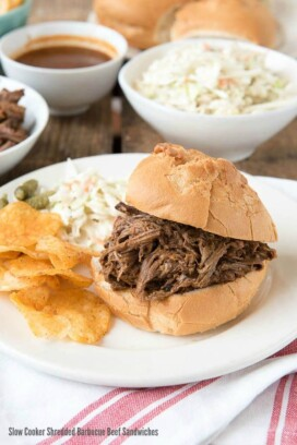 Slow Cooker Shredded Barbecue Beef Sandwiches