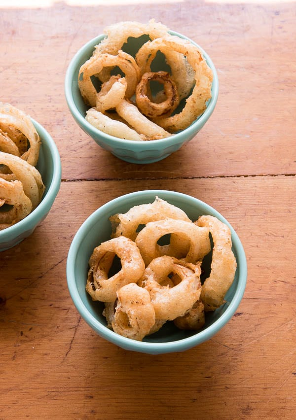 Spicy Beer-Battered Onion Rings {gluten-free} from above
