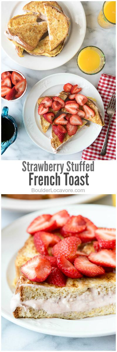 Strawberry French toast collage