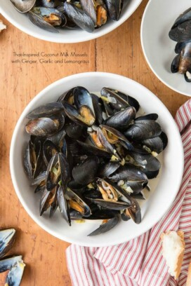 Thai-inspired Coconut Milk Mussels with Garlic, Ginger and Lemongrass