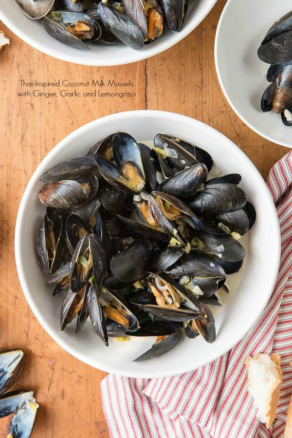 Thai-inspired Coconut Milk Mussels with Garlic, Ginger and Lemongrass ...