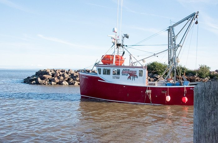 Bay of Fundy, lobster boat at high tide - BoulderLocavore.com