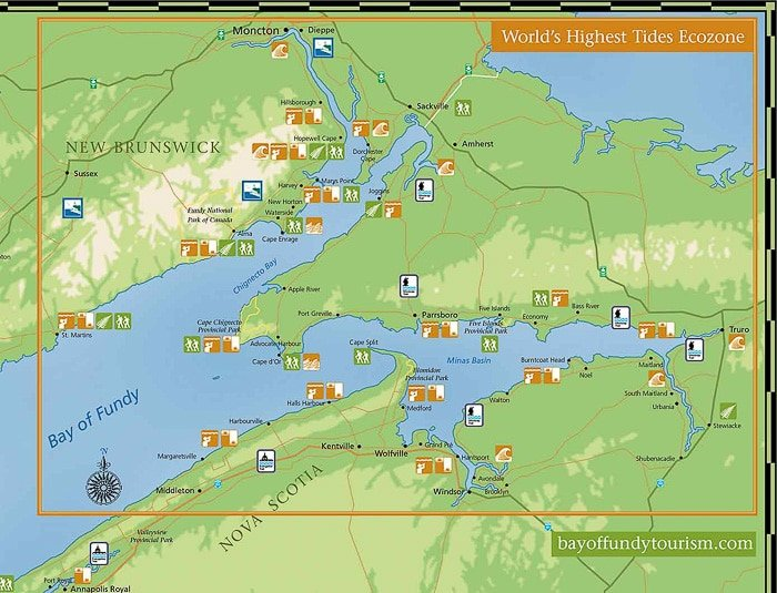 Bay of Fundy Tourism World's Highest Tides Ecozone map