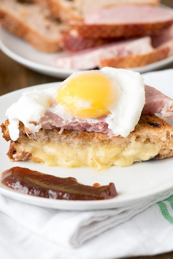 Breakfast Grilled Cheese Sandwich with Ham, Poached Egg, Apple Butter - BoulderLocavore.com
