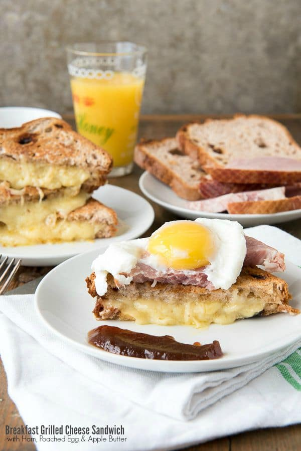titled photo - Breakfast Grilled Cheese Sandwich with Ham, Poached Egg, Apple Butter