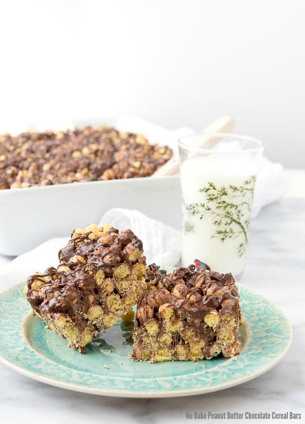No Bake Peanut Butter Chocolate Cereal Bars - BoulderLocavore.com