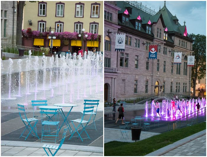 Old Quebec City, Colored Fountains at L'Hotel de Ville BoulderLocavore.com