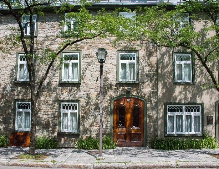 Quebec City, Upper City Stone Building with Green Window Trim BoulderLocavore.com