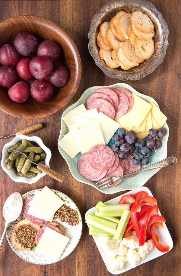 Salame, Cheese, Crackers. cruditie and plums - BoulderLocavore.com