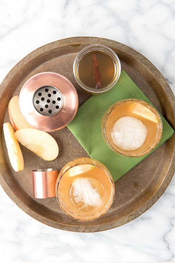 Spiced Cider Apple Whisky Sour with Homemade Cinnamon Simple Syrup