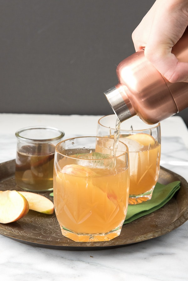 Spiced Apple Cider Whisky Sour cocktail with Homemade Cinnamon Simple Syrup - BoulderLocavore.com