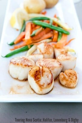 plate of scallops and vegetables