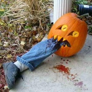 Pumpkin Devouring Bloody Leg | BoulderLocavore.com