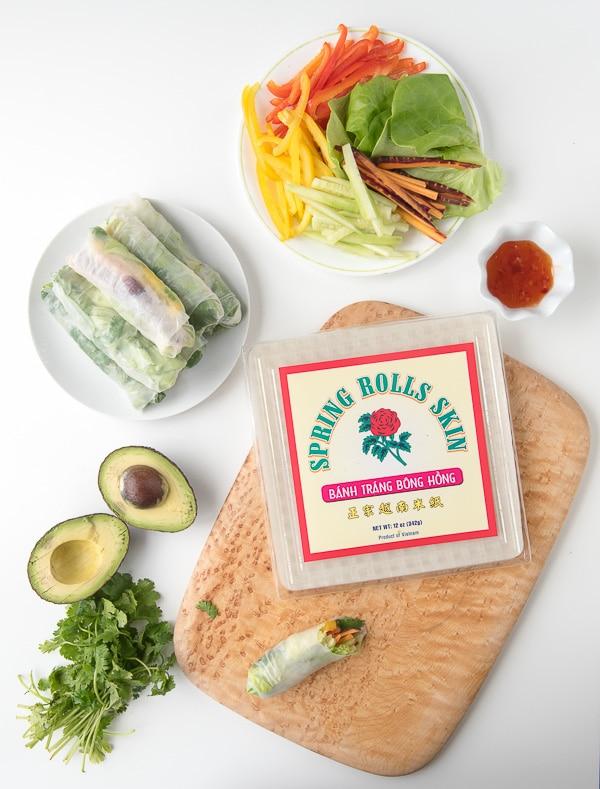 DIY Vietnamese Vegetarian Spring Rolls ingredients - BoulderLocavore.com