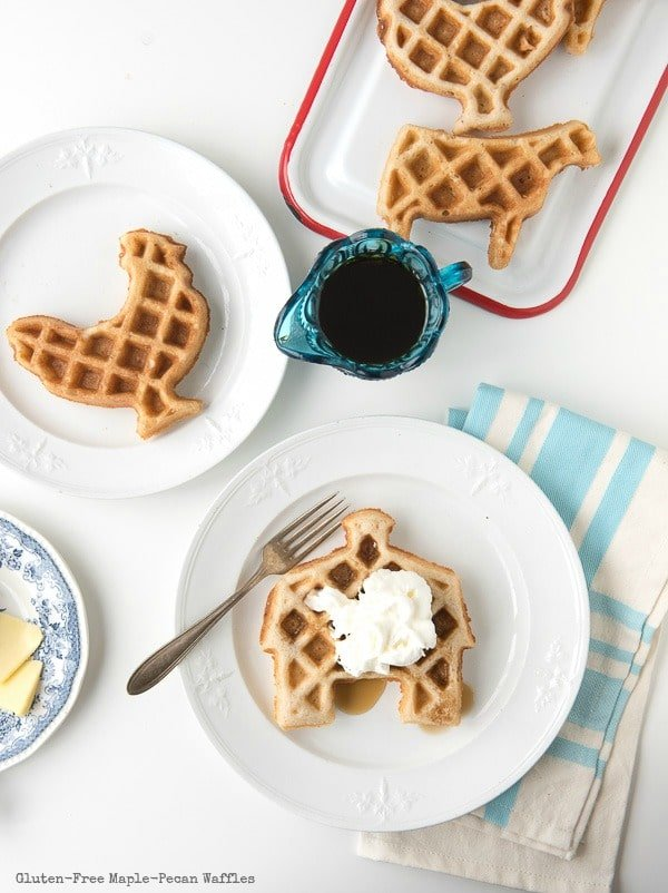 Gluten-Free Maple-Pecan Waffles made in various farm animal shapes
