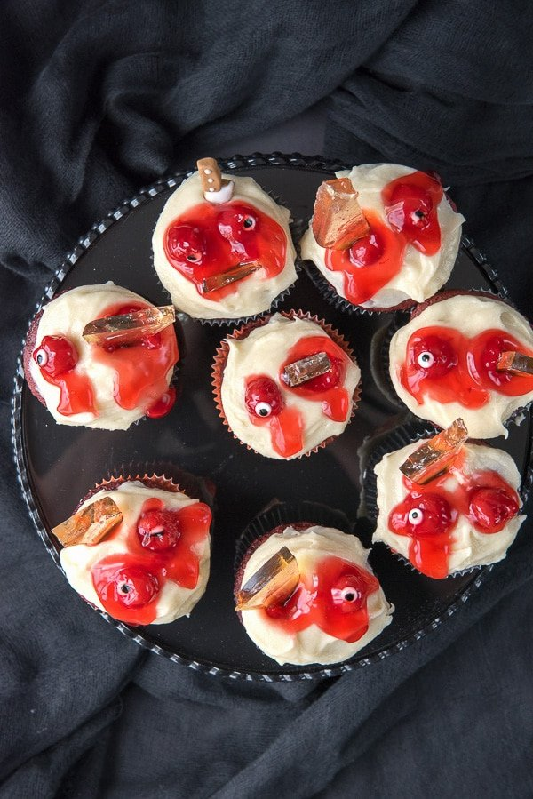 Mutilated Zombie Cupcakes with edible glass