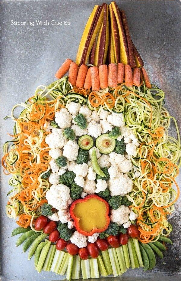 Screaming Witch Crudites Vegetable Platter with Spiralizer Hair for Halloween - BoulderLocavore.com