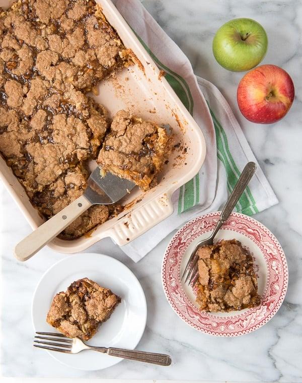 Shortcut Cinnamon Caramel Apple Bars - 2 servings on plates
