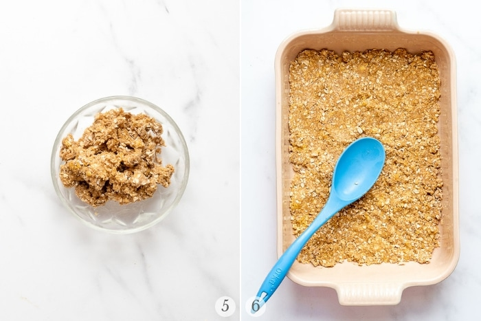 Shortcut Cinnamon Caramel Apple Bars collage steps 5-6