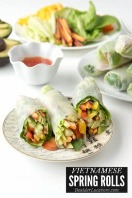 Spring Rolls on a small plate with text title