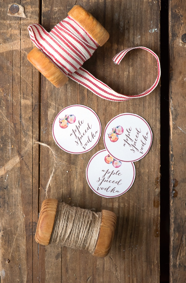 Apple Spiced Vodka printable gift tags - BoulderLocavore.com
